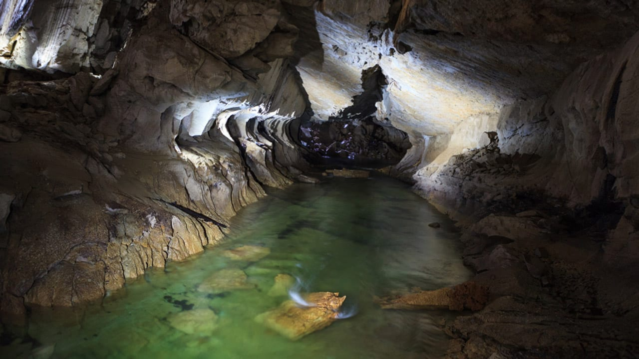 Underground river in clearwater cave