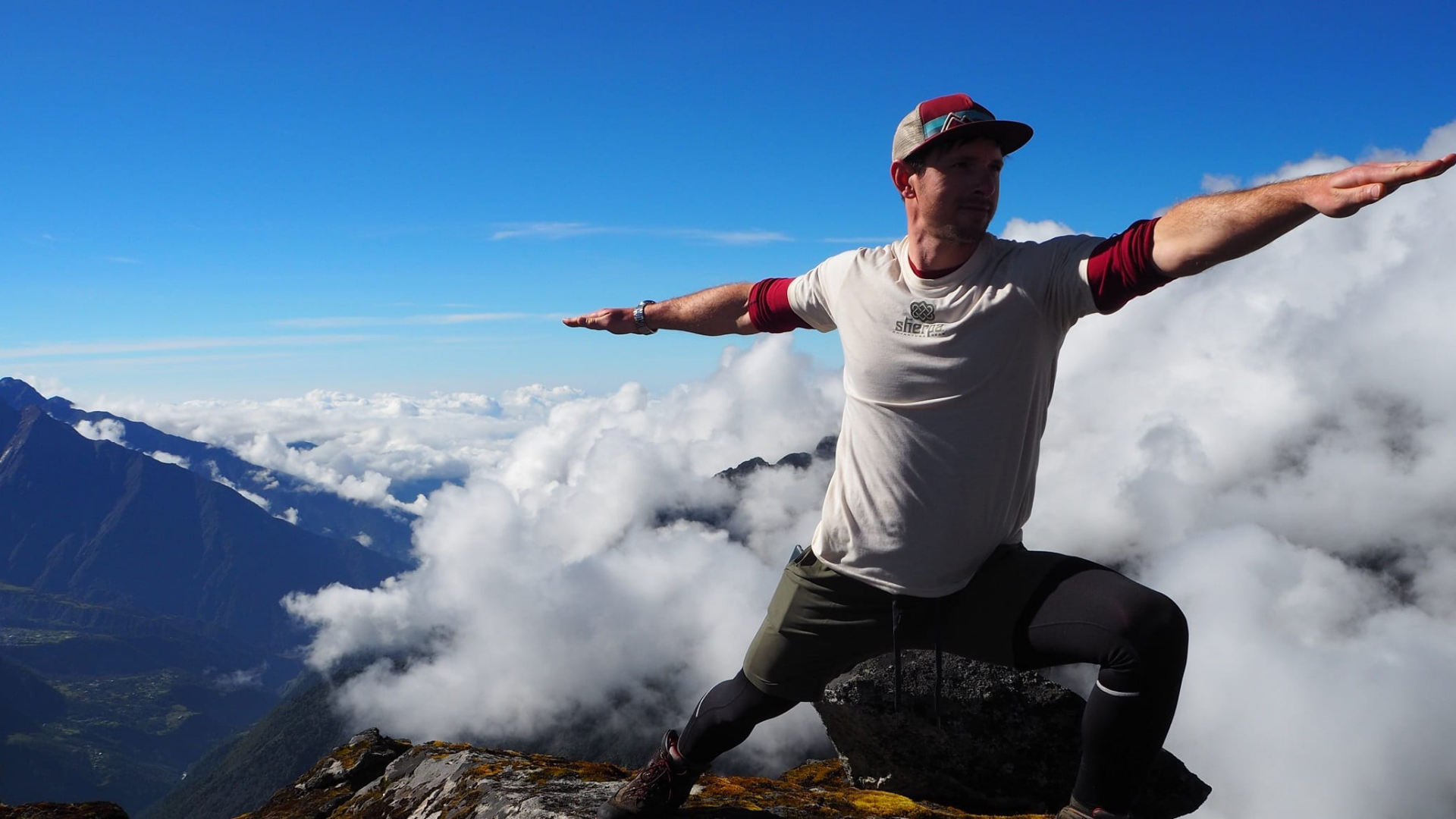 Flashpacker Tony Stevens doing yoga in the Everest region of Nepal
